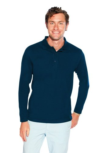 Langarm Poloshirt Navy