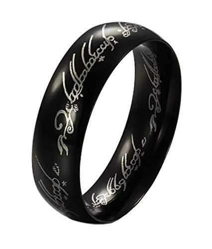 Herrenring - Ring für Herren - Der Herr Der Ringe - Kino - Lord of The Rings - Fernsehserie - Schwarz - Schwarze Farbe - Messen - Ringgröße DE 53 (16.9)