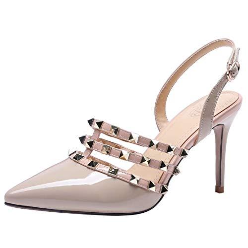 AIYOUMEI Damen Slingback Stiletto High Heels Sandalen mit Nieten Leder Sandaletten Spitze Pumps Lack Slingpumps Aprikose 39.5 EU Patent T-strap Pump