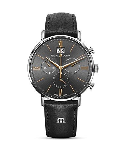 MAURICE LACROIX Herren Armbanduhr Schweizer Chronograph Eliros EL1088-SS001-812-1 Edelstahl, Leder, Saphirglas, analog, schweizerische Qualität