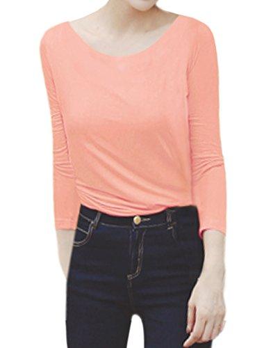 sourcingmap Femme Decolleté Manches Longues Slim Fit T-Shirt Rose
