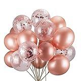 JYOHEY Konfetti Luftballons Roségold Transparente Pailletten Latex Ballons Konfetti Ballon Für Geburtstagsfeier Hochzeit Party Valentinstag Dekorationen (12 Stück 16 Stück 50 Stück