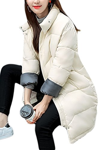 Le Donne Si Tira Su L'inverno Al Caldo collo Lungo Gli Outwear Trapuntato Beige