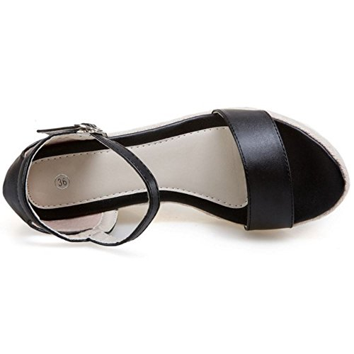 COOLCEPT Femmes Mode Cheville Sandales Orteil Ouvert Compenses Chaussures Noir
