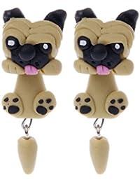 Amarzk 3D Sharpei Pug Pendientes de perro para mujeres niñas Arcilla polimérica Animal de dibujos animados
