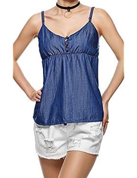 MIOIM® Las Mujeres de Camisa Azul de Mezclilla Honda de Algodón Suave Correas Camisola