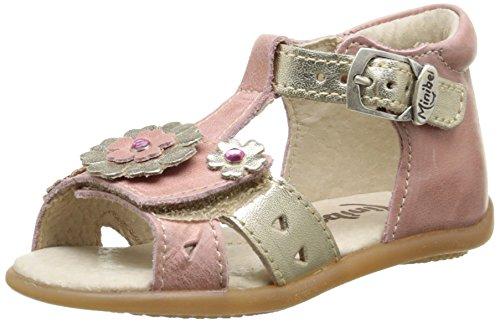 Minibel Kadija, Chaussures Premiers pas bébé fille Rose (53 Vieux Rose Metal/Or)