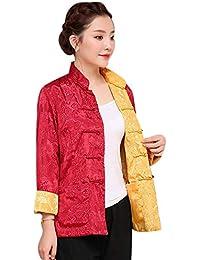 9920b21bbdf1a KINDOYO Costume Tang Chinois Manteaux Femmes Hommes - Les Deux Côtés Manteau  Veste Manches Longues Arts
