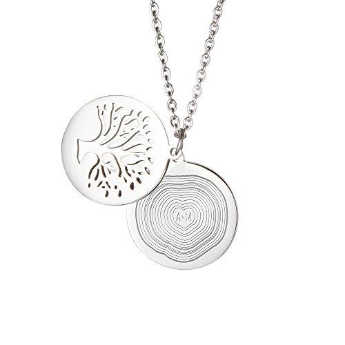 Gravado Halskette aus Edelstahl mit Baumanhänger und Kreis mit Jahresringen, Karabinerverschluss, Inkl. Geschenkbox, Damen Schmuck