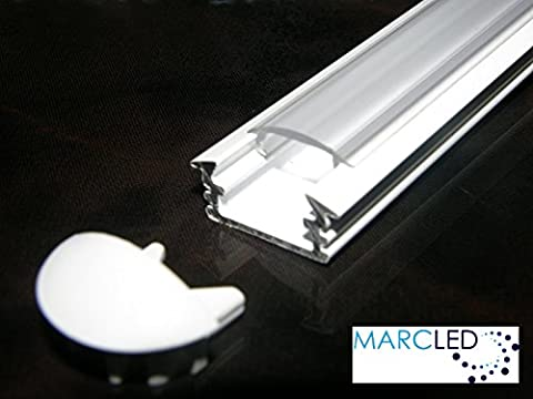 5 x Profilé LED ALU peint en BLANC, 1m, avec couvercle opale (PMMA) et embouts; 5 x Aluminium Profile for LED Strips; Painted WHITE, set with OPAL Cover and two end caps; 1000mm