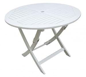 Gartentisch rund, Holztisch, runder Tisch aus Eukalyptusholz, weiß lackiert, 100% FSC