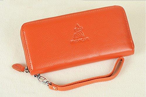 Ms. portafoglio lungo tratto femminile della pochette semplice borsa della frizione di modo della borsa cerniera ( colore : Rosso ) Arancia