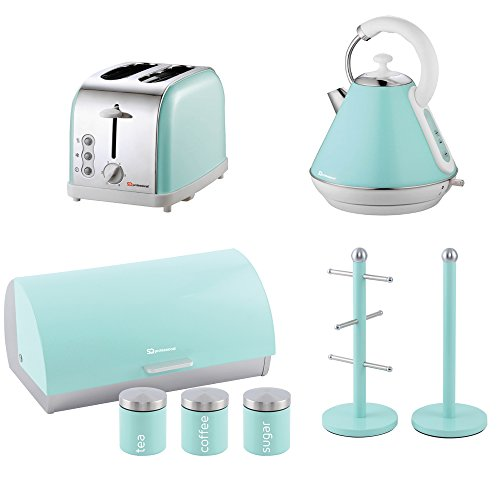 Matching Kitchen Set Of Four Items: Toaster, Kettle, Bread Bin And Canisters And Mug Tree And Kitchen Roll Holder Stand Set In Light Blue, Pink Or Mint Green (Mint Green)