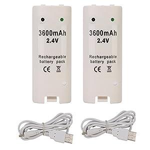 TKOOFN 2 x 3600mAh Akkus Wiederaufladbare Batterien & Ladekabel für Nintendo Wii Remote Controller