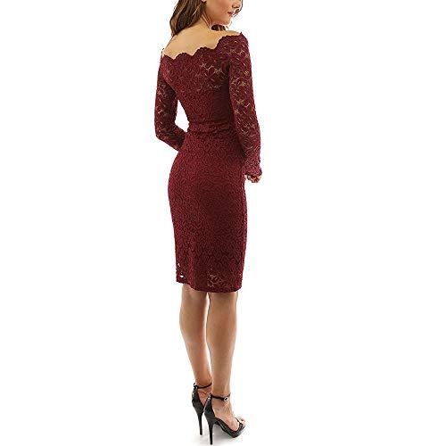Sommerkleid Frauen Vintage Spitze Langarm Cocktailkleid Swing Party Kleid Spitze Langarm Frau Bodycon Kleid Mini Büroarbeit Kleid,Redwine,M
