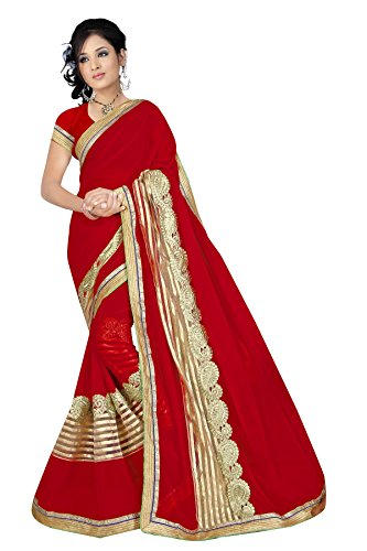 Online Hub New Disigner Georgette Saree, Party Wear Sarres For Women,Bollywood Designer Saree(Red Box Net Patli)
