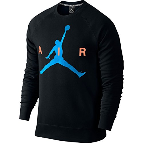 Nike Jumpman Graphic Brushed Crew Felpa Black/Photo Blue