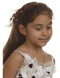 Serre tête de cérémonie pour fille couleur chocolat.