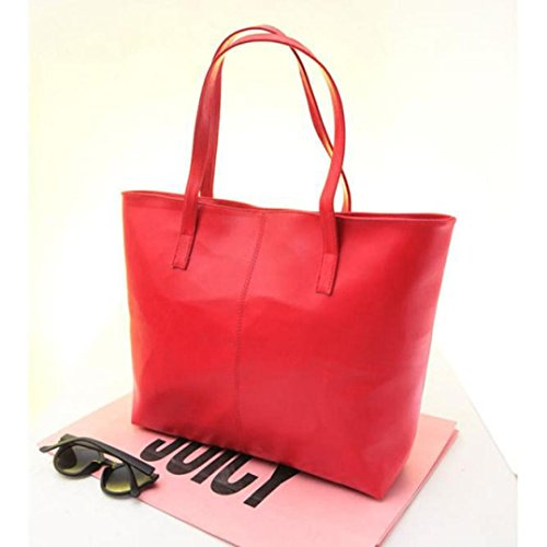 Hunpta Frauen Schulter Mode Handtasche Damentasche Tasche Handtasche Leder Rot