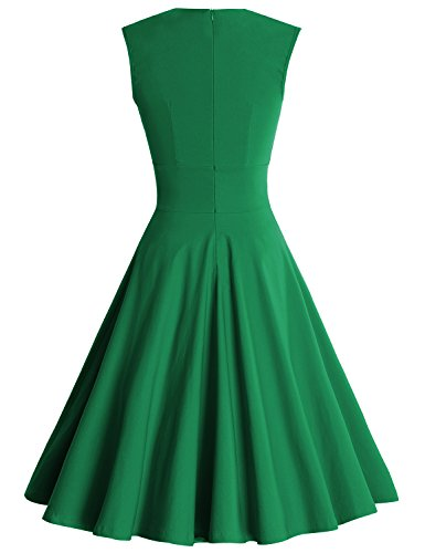 MUXXN Damen Retro 1950er V-Ausschnitt Brautjungfer Party Swing Kleid Emerald Green