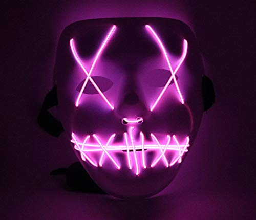 Upolymall LED Grimace Horror Glowing Mask Party Mask, Cold Light Ghost Walk Holiday Party Mask, Halloween Role Dress Up Cool Mask(Pink)