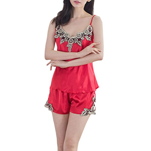 Zhhlaixing Women Nightgowns Sleepwear Satin Pajama Set Wine Red
