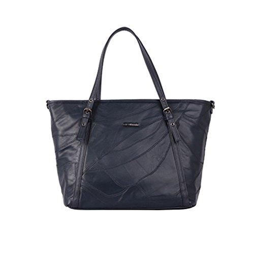 Harra Tasche echtes Lammfell Umhängetasche, Frauen Schultertasche, koreanische Mode, Tote Tasche für Frauen, Einheitsgröße (Damen) Marine