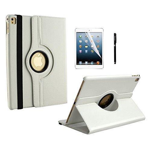 inShang iPad Pro 9.7 Fundas soporte y carcasa para Apple iPad Pro 9.7 inch 2016, 360 grados de rotacion, smart cover multiples funciones PU Funda con la funcion inteligente de sueno-despertar + clase alta 2 in 1 inShang marca negocio Stylus pluma + HD Protectores de Pantalla blanco