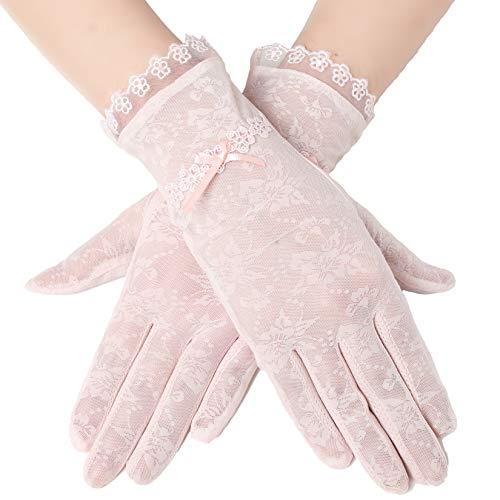 ArtiDeco Damen Lace Handschuhe Satin Braut Hochzeit Spitze Handschuhe Opera Fest Party Handschuhe 1920s Handschuhe Damen Kostüm Accessoires (Kurz Bogen Pink)