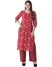 Khushal Women's Cotton Printed Straight Kurti With Palazzo Pant Set …