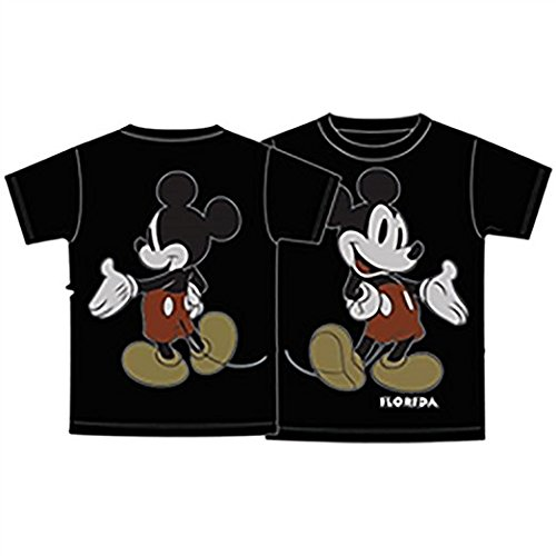Disney Mickey Mouse Front & Back Tee Adult Unisex T Shirt- Black Black