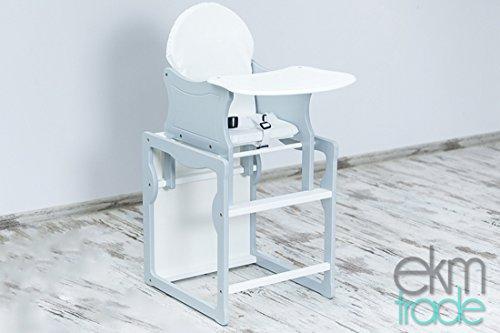 1 Holz-hochstuhl (Kinderhochstuhl 2 in 1 Kombi Baby Hochstuhl Stuhl Tisch Holz Kieferholz ekmTRADE (Grau))