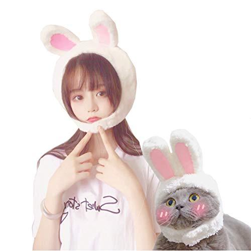 NACOCO Oster-süße Hasenohren, Plüschkopf, Katze weiß und rosa Kaninchenhut, Dekoration für Mädchen, weiße Kaninchen, für Katzen und Erwachsene (Erwachsene Weiße Kaninchen Hut)