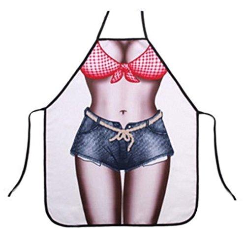 Tablier de cuisine humoristique Femme nue short maillot bain - Sexy Deguisement Humour - 720