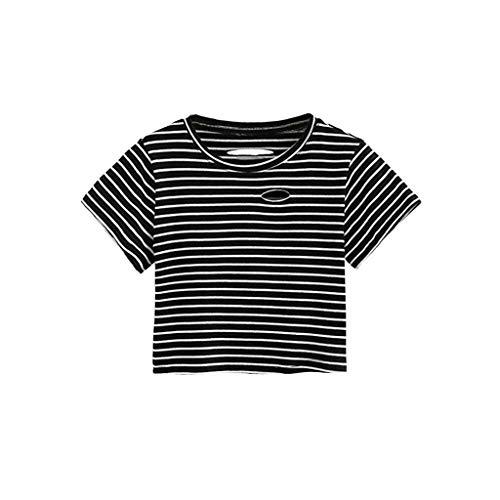 KIMODO 2019 T Shirt Damen Baumwolle Große Größen Bluse Streifen Top Sommer Kurzarm Lose Shirt Loch Lässig Oberteile (Sleeve Shirt Jacquard)
