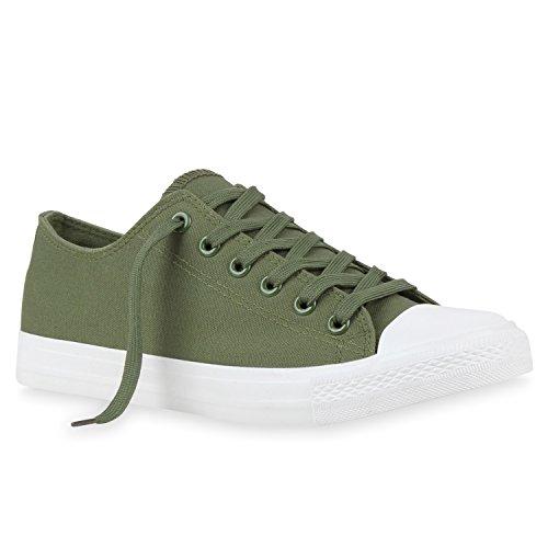 Sportliche Damen Herren Low Sneakers Bequeme Schnürer Freizeit Schuhe Grün