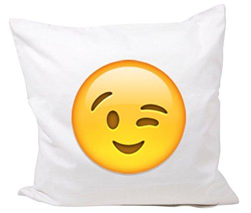 """Kissenbezug 40x40 cm """"Zwinkerndes Gesicht"""" Kissenhülle - 40x40cm - Emoji - Smiley - Kissen"""