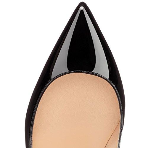 EDEFS Damen Hohen Absätzen Übergröße Pumps Spitze Zehen Klassische Schuhe Elegante High Heels Black