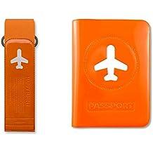 Happy Flight Geschenk Set für Reisende - Koffergurt und Reisepasshülle - Orange