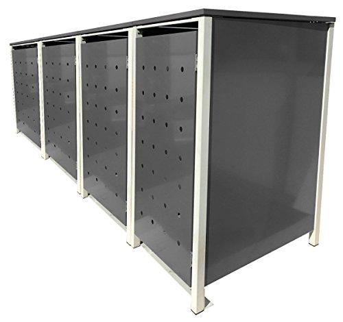 BBT@ | Hochwertige Mülltonnenbox für 4 Tonnen je 240 Liter mit Klappdeckel in Silber / Aus stabilem pulver-beschichtetem Metall / Stanzung 5 / In verschiedenen Farben sowie mit unterschiedlichen Blech-Stanzungen erhältlich / Mülltonnenverkleidung Müllboxen Müllcontainer - 2