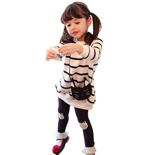 JERFER 2pcs Gestreifte Comic-Katze Outfit Set Herbst Frühling Bekleidungsset nette Baby Kind Kleidung Langarm Shirt Tops Bluse + Hose Leggings für 4-8 Jähriges Mädchen (Weiß, 5T)