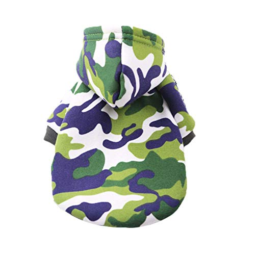 SCJ Haustierprodukte Hundekleidung Tarnkleidung Dirty HandsomeHaustierkleidungCat Two-Legged Hooded ClothesShallow Army Green_S