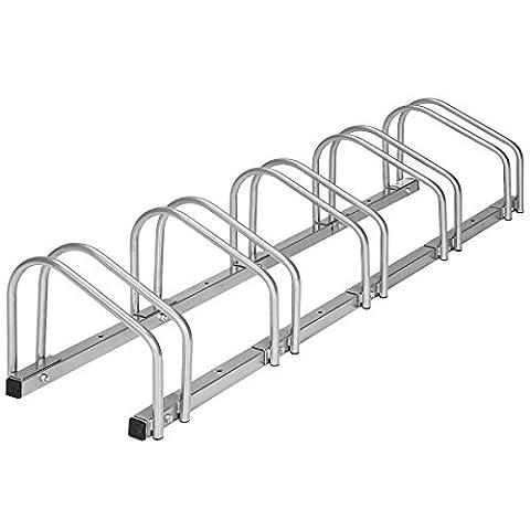 TecTake Râtelier range-vélo pour 5 vélos | en acier revêtu | (LxlxH) 130 x 28,5 x 26 cm