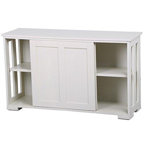 Yaheetech armadietto mobiletto armadio bianco moderno da cucina salotto studio con 2 ante scorrevoli e ripiano regolabile