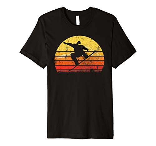 Weinlese Retro Snowboard Spieler Silhouette Sun T-Shirt
