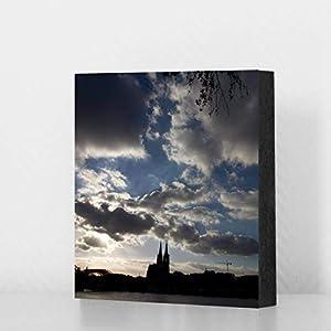 Köln Bild - Dom mit Wolken (bunt) 14x14cm, MDF, Geschenk, Deko, Dom, Kölngeschenk, Cologne, Holz, Kunst