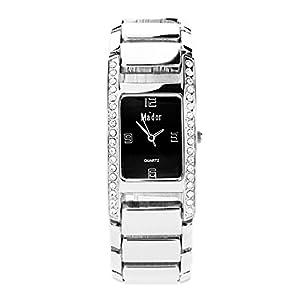 Mador CB1867BD - Reloj de cuarzo para mujer con elementos Swarowski, negro/metal plateado de Ma'dor