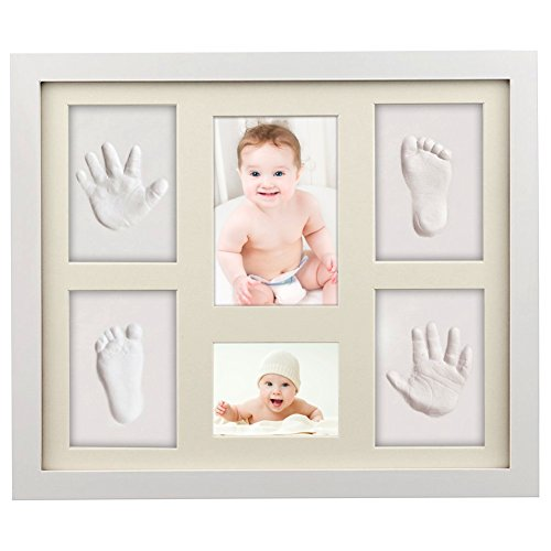 Baby Handabdruck, ToWinle Bilderrahmen Baby Handabdruck und Fußabdruck Personalisierter Bilderrahmen aus Holz mit Ungiftigem Lehm Andenken Set für Baby Geschenk