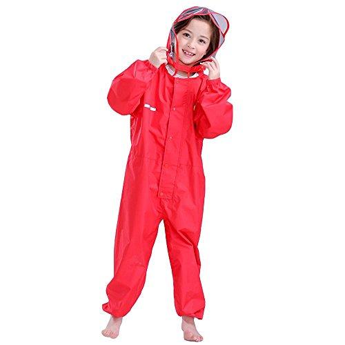 Bwiv Regen-Overall Regenanzug Wasserdicht Kinder für Mädchen und Jungen Rot mit PVC Rand XL / 6-7Jahre / 115-125cm (Mädchen Schneeanzug Größe Xl)