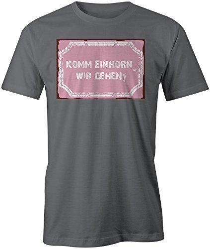 Komm Einhorn Wir Gehen ★ Rundhals-T-Shirt Männer-Herren ★ hochwertig bedruckt mit lustigem Spruch ★ Die perfekte Geschenk-Idee (06) dunkelgrau